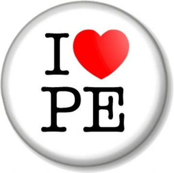 I Love / Heart PE Pinback Button Badge Favourite School Subject Physical Education Lesson Teacher